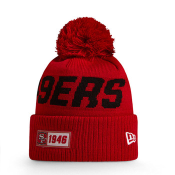 NEW ERA san francisco 49ers NFL bobble beanie knit hat [red/black]