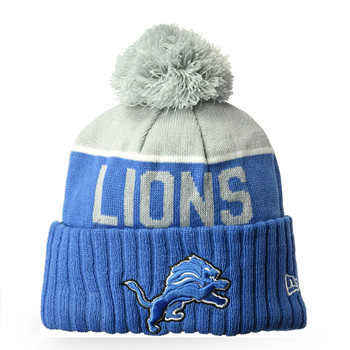 NEW ERA detroit lions NFL sport knit bobble beanie hat Junior [blue/grey]
