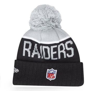 NEW ERA las vegas raiders NFL sideline sport knit bobble beanie hat Junior [black/grey]