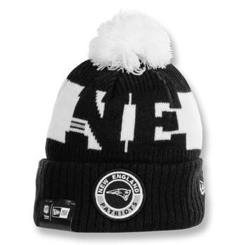 NEW ERA new england patriots NFL sideline sport knit bobble beanie hat [black/white]