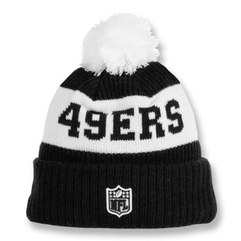 NEW ERA san francisco 49ers NFL sideline sport knit bobble beanie hat [black/white]