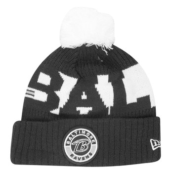 NEW ERA Baltimore Ravens NFL sideline sport knit bobble beanie hat [Black/white]