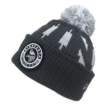 NEW ERA minnesota vikings NFL sideline sport knit bobble beanie hat [Grey]