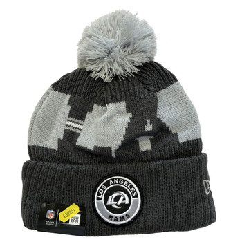 NEW ERA los angeles rams NFL sideline sport knit bobble beanie hat [Grey]