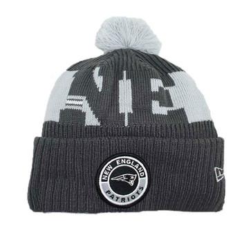 NEW ERA new england patriots NFL sideline sport knit bobble beanie hat [Grey]