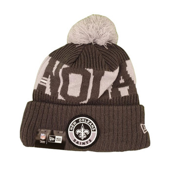 NEW ERA new orleans saints NFL sideline sport knit bobble beanie hat [Grey]