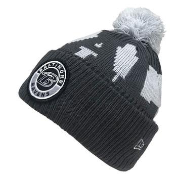 NEW ERA Baltimore Ravens NFL sideline sport knit bobble beanie hat [grey]