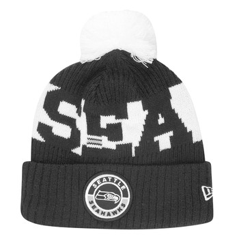 NEW ERA Seattle Seahawks NFL sideline sport knit bobble beanie hat [Black/white]