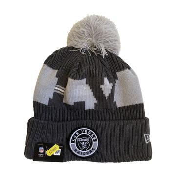 NEW ERA Las Vegas Raiders NFL sideline sport knit bobble beanie hat [Grey]