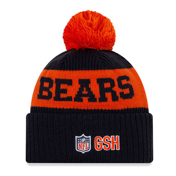 NEW ERA chicago bears NFL sideline sport knit bobble beanie hat [navy orange]
