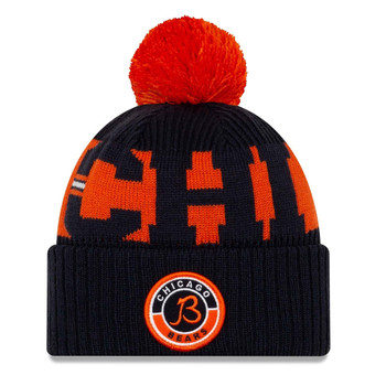 NEW ERA chicago bears NFL sport knit bobble beanie hat V2 [navy/orange]