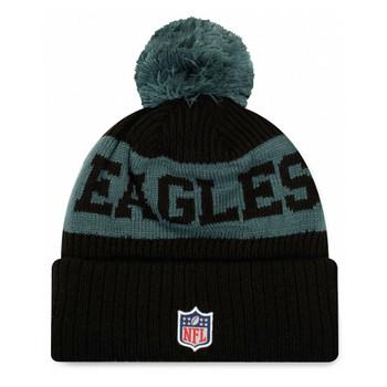 NEW ERA philadelphia eagles NFL sideline sport knit bobble beanie hat [Black/teal]