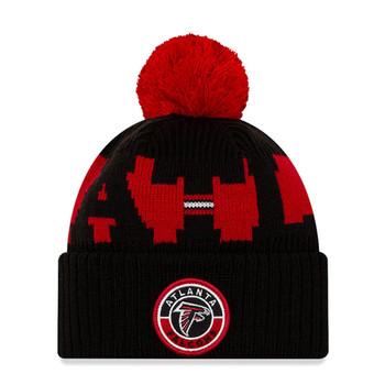NEW ERA atlanta falcons NFL sideline sport knit bobble beanie hat [Black/red]