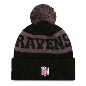 NEW ERA baltimore ravens NFL sideline sport knit bobble beanie hat [Black/grey]