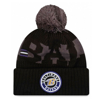 NEW ERA baltimore ravens NFL sideline sport knit bobble beanie hat [Black/grey]