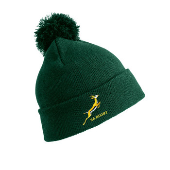 SOUTH AFRICA rugby bobble beanie hat one size [green]