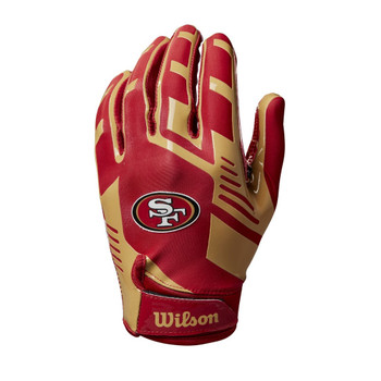 WILSON stretch fit receivers american football gloves - San Francisco 49ers [youth]