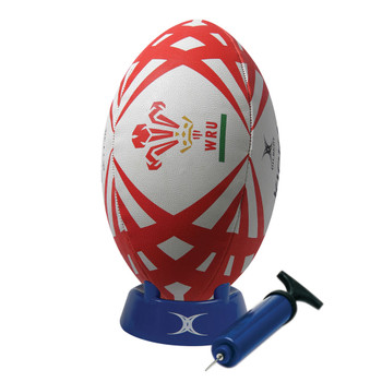 GILBERT wales rugby starter pack (ball, pump, kick tee)