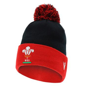 MACRON wales rugby (WRU) acrylic bobble beanie hat [black/red]