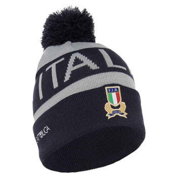 MACRON italy rugby (FIR) acrylic bobble beanie hat [navy/grey]
