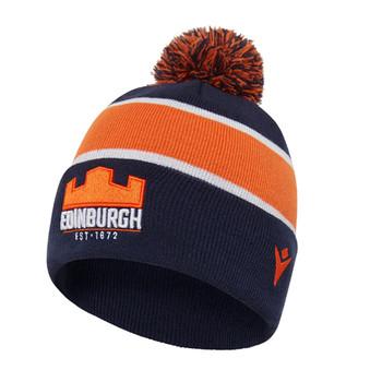 MACRON edinburgh rugby acrylic bobble beanie hat [navy/orange]