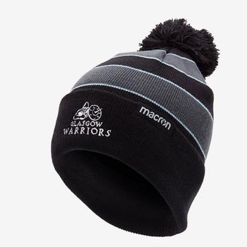 MACRON glasgow warriors rugby acrylic bobble beanie hat [black]