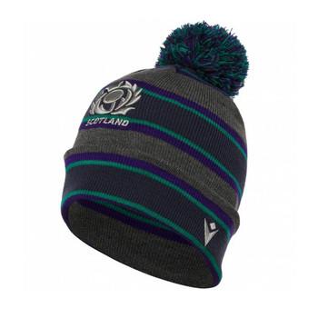 MACRON SRU Scotland rugby acrylic bobble beanie hat [grey/purple/green]