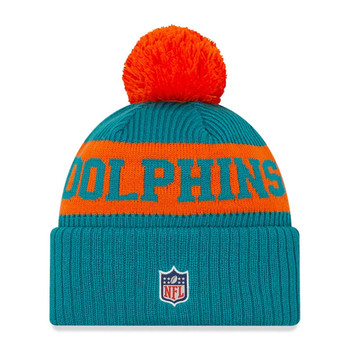 NEW ERA miami dolphins Kids NFL sideline sport knit bobble beanie hat [turquoise/orange]