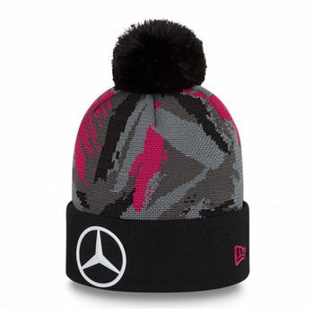 NEW ERA mercedes-benz formula E bobble knit hat [black/grey/pink]