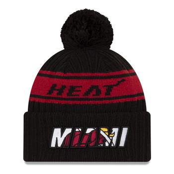 NEW ERA basketball miami heat NBA draft knit bobble hat [black/red]