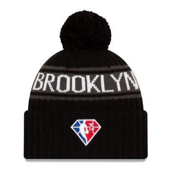NEW ERA basketball brooklyn nets NBA draft knit bobble hat [black]