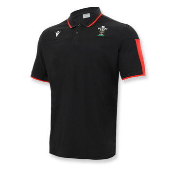 MACRON wales rugby (WRU) players polo shirt [black]