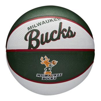 WILSON milwaukee bucks NBA retro mini basketball [white/olive green]