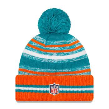NEW ERA miami dolphins NFL sideline sport knit bobble hat [orange/turquoise]