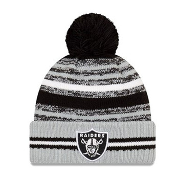 NEW ERA Las Vegas Raiders NFL sideline sport knit bobble hat [black/grey]