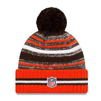 NEW ERA Cleveland Browns NFL sideline sport knit bobble hat [orange/brown]