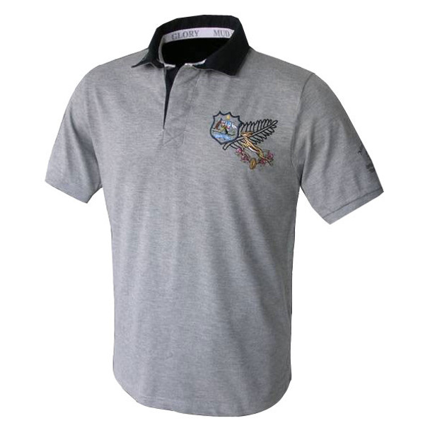 Mud and Glory Tri Nations Rugby Polo Shirt [grey]