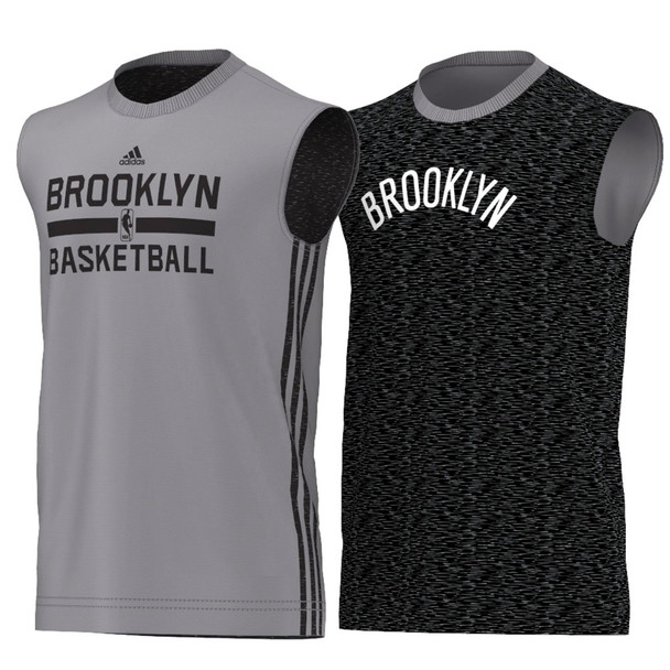 ADIDAS brooklyn nets NBA basketball reversible tank [grey/black]