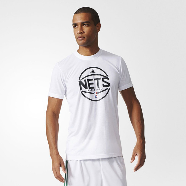 ADIDAS brooklyn nets NBA basketball summer run shooter t-shirt [white]