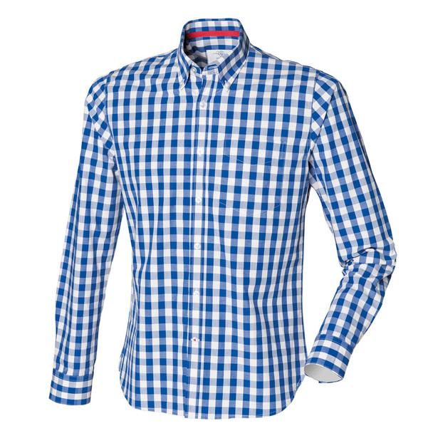 FRONT ROW slim fit cotton check shirt [blue/white]