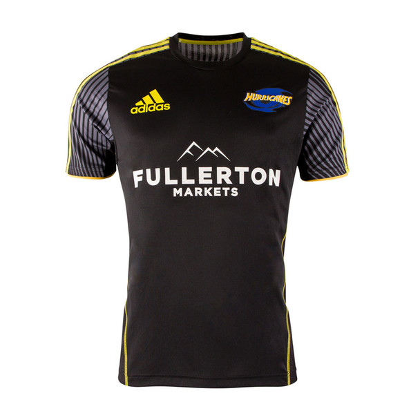 ADIDAS hurricanes super rugby players performance t-shirt [black/yellow]