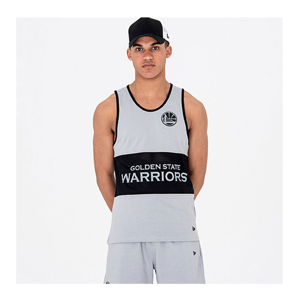 NEW ERA Golden State Warriors Team Grey Mesh Basketball Tank [Grey]