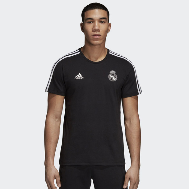 ADIDAS Real Madrid 3 stripe Tee Shirt [black]