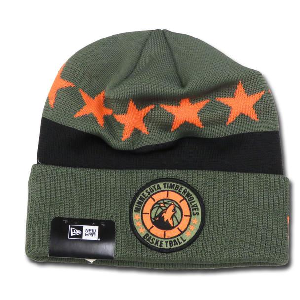 NEW ERA minnesota timberwolves NBA tip-off beanie hat [olive/black/orange]