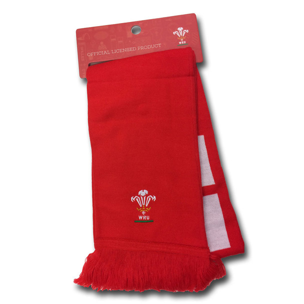 OFFICIAL wales rugby (WRU) supporter scarf [red]