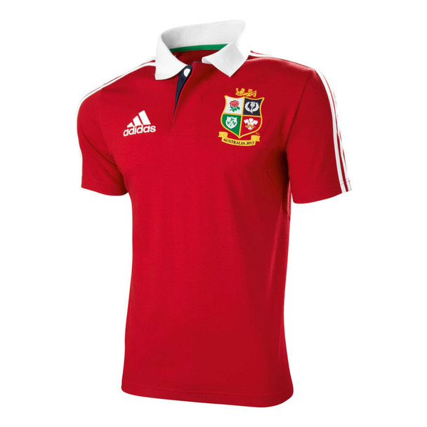 ADIDAS British Lions Rugby Polo Shirt 2013 size 40/42 [red]
