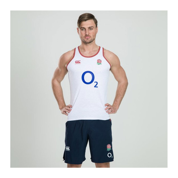 CCC England Rugby Vapodri Poly Singlet [ bright white marl]