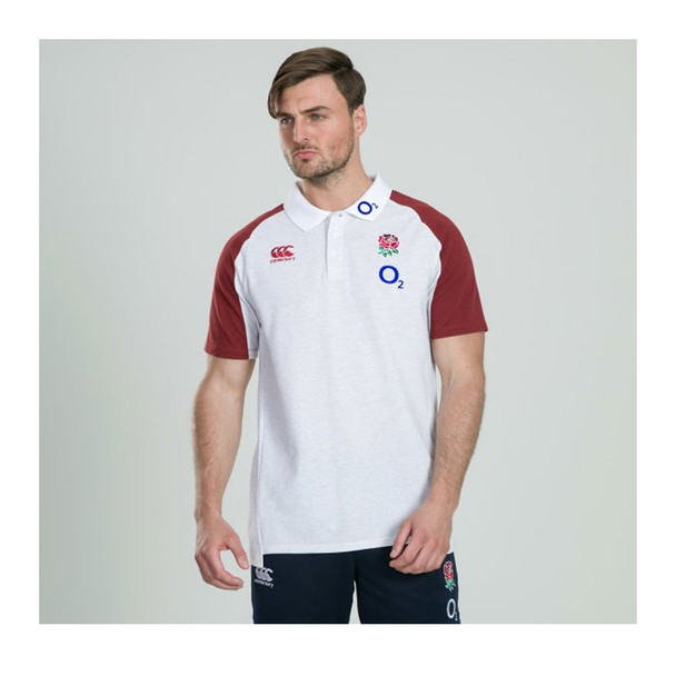 CCC Mens England Rugby Vapodri Cotton Pique Polo [white marl]