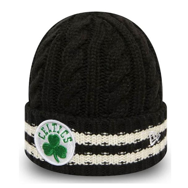 NEW ERA boston celtics team stripe knit hat [black]