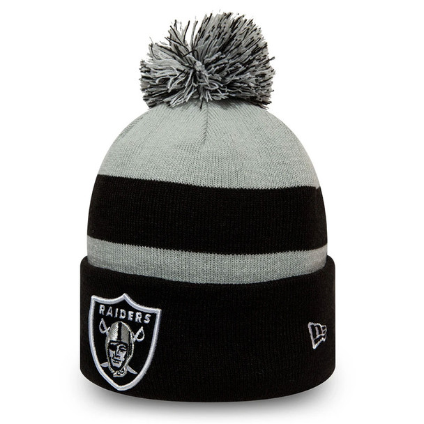 NEW ERA Oakland Raiders NFL Striped Cuff Knit Bobble Hat [black/grey]